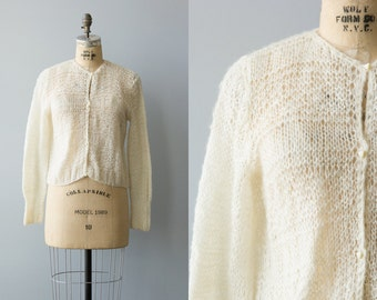 Travel On cardigan   Vintage 1960s cream mohair sweater   Hand knit mohair