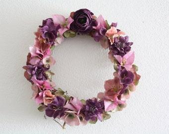 "Flower wreath, wedding wreath ,summer wreath , ester wreath. purple wreath 24 cm ,9"""