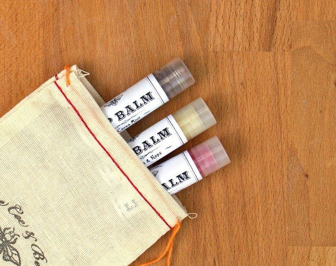 Natural Lip Balm - 3 Pack Gift Set: Mulled Wine, Cocoa Mint and Citrus & Hops // stocking stuffer