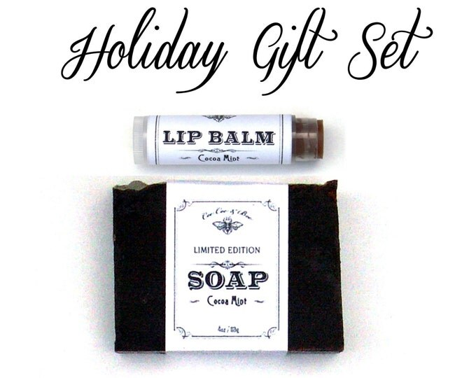 Chocolate Peppermint Holiday Gift Set - Cocoa Mint LIp Balm & Handmade Cocoa Butter Soap