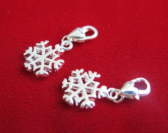 "BULK! 10pc ""christmas snowflake"" clip-on charms in antique silver style (BC123B)"