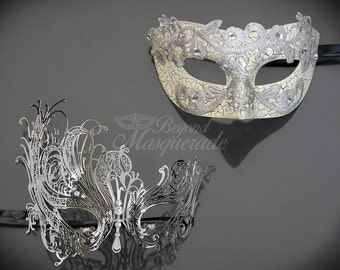 4everStore Couples Masquerade Mask, Silver Masquerade Mask, Mens Masquerade Mask Lace, Masquerade Masks Women Metal