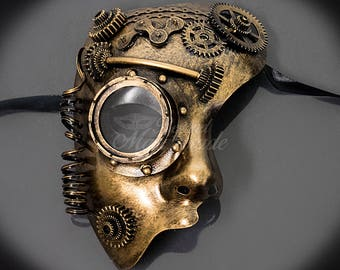 Men's Masquerade Mask, Steampunk, Phantom Half Face Mask, Steampunk Masquerade Mask, Steampunk Gears Goggle Accessories Gold