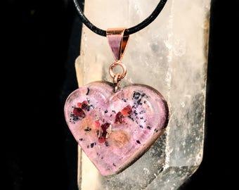 Courageous Heart Pendant ~ Violet Flame Orgone Necklace ~ Orgone Shungite Pendant
