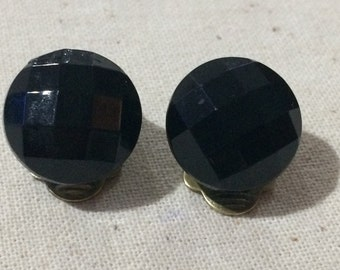 Vintage Faceted Black Glass Dome Button Clip On Earrings