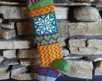 Personalized Christmas Stocking, Knit Christmas Stocking, Knitted Christmas Stocking, Hand Knit Christmas Stocking, Teal Norwegian Snowflake