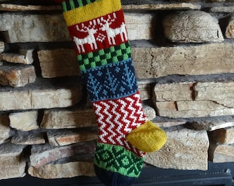 Knit Christmas Stocking, Personalized Christmas Stockings, Knitted Christmas Stocking, Christmas Stocking Knit, Red Reindeer, Blue Trees