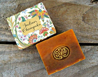 NAG CHAMPA SOAP (Champaka). Natural Vegan Cold Process Soap with Shea Butter. 4.5 oz.