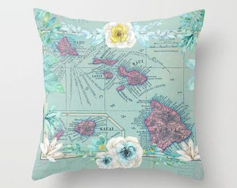 Hawaii Floral Map Pillow - Island map, travel decor, coastal,  tropical,  Vintage Maps, unique, colorful, teal pink, accent pillow