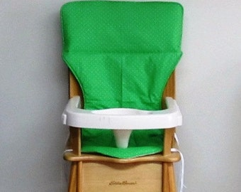 replacement cotton fabric high chair pad, highchair cover, Eddie Bauer wooden high chair, baby, child care, kids feeding, spring green/dots