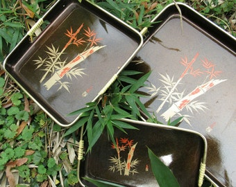 Vintage Lacquer Asian Serving Tray Set of 3 Bamboo Rattan Handle Stackable Serving Trays