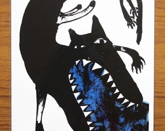 Signed Original Mel Sheppard Screen Print 'Puking Wolf', in Blue (A4 Size)