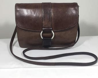 Fossil, Brown, Leather, Organizer, Purse, Bag, Shoulder Bag