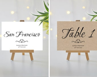 A5/A6 Personalised Wedding/Party/Dinner Table Name / Number Cards (006)