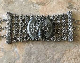 Unique One of a kind Chainmail Cuff w/Wrist Cannon
