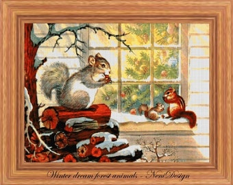 Winter dream forest animals - cross stitch pattern - PDF pattern - instant download!