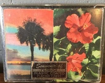 Vintage Souvenir of Florida 2 Deck Playing Card Set in Case