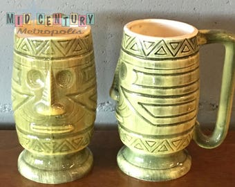 Mid Century Westwood Green Tiki Mugs