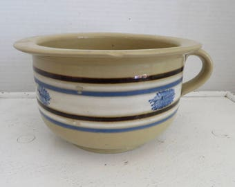Vintage Mocha Decorated Pottery Small Childs Chamber Pot/Yellow ware
