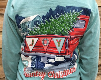 Country Christmas Long Sleeve T-shirt ~ comfort Color Shirt ~  Long Sleeve Shirt ~ Christmas Shirt