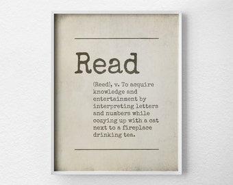 Read Poster, Book Art, Book Prints, Bookish Prints, Bookish Gifts, Book Lover Gift, Reading Nook, Book Nook, Book Decor, Dorm Wall Art