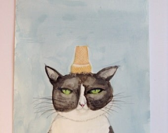 My cat loves ice-cream (funny picture) original, signed watercolour painting/illustration A4 size