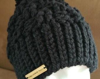 Black or Gray Crochet Winter Hat