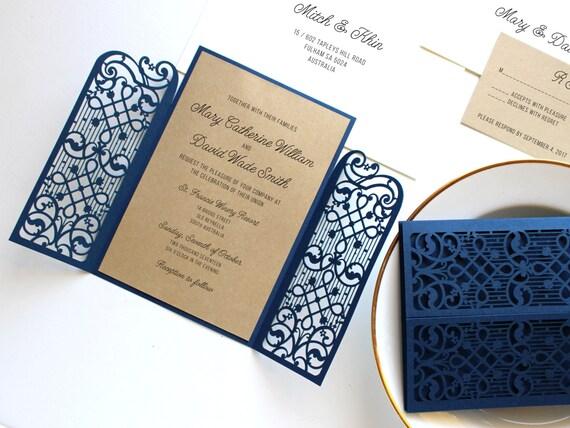 Navy Blue And Gold Wedding Invitations: Navy And Gold Wedding Invitation Set Navy Blue Wedding