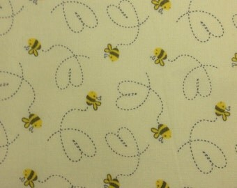 One Half Yard Piece of Fabric Material - Baby Bumble Bees Yellow