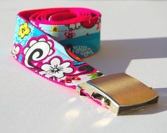 Fabric - jeans belt colorful blue pattern