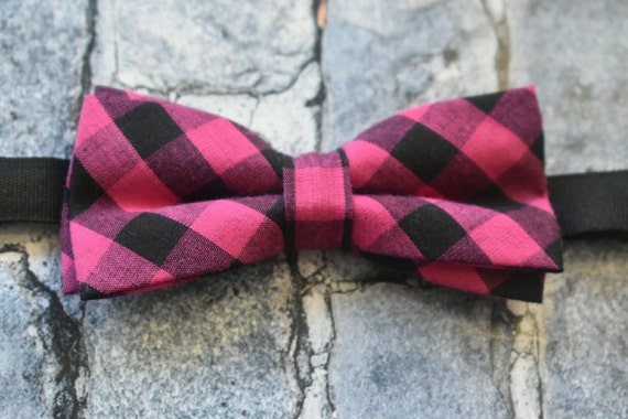 Pink and Black Plaid / Gingham Bow Tie  for Baby, Toddlers and Boys (Kids Bow Ties) with Braces / Suspenders