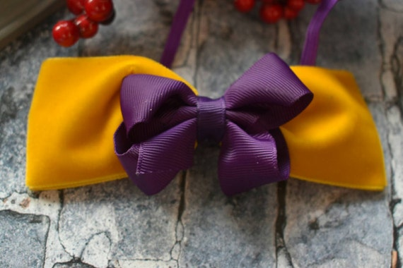Festive mustard and purple bow - Baby / Toddler / Girls / Kids Elastic Hairclip / Hair Barrette / Hairband / Headband / holiday gift