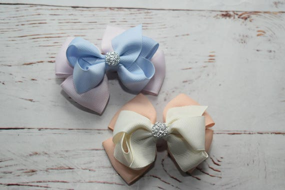 Pair of pastel barrettes / hair clips / pigtail clips / pony tail clips / wedding bows / flowergirl bows / birthday bows