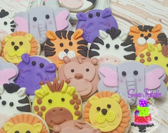 "Jungle Animals Sugar Cookie 3""- 12 Sugar Cookies Decorated With Marshmallow Fondant - Favors- Candy Buffet- Sweet Table."