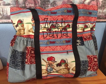 Large personalized diaper bag- farmer theme