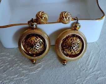 Gold Dangle Screw Back Earrings,Art Deco Vintage Screw Back Earrings