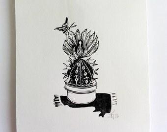 "FREE SHIPPING Worldwide, Original Handmade Linocut Print, 6.5"" x 9"", cactus, tunera, butterfly, wall decor, hand pulled, block print"
