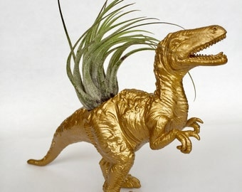 Gold Velociraptor Dinosaur Planter with Air Plant // Coworker Gift // For Her // For Him