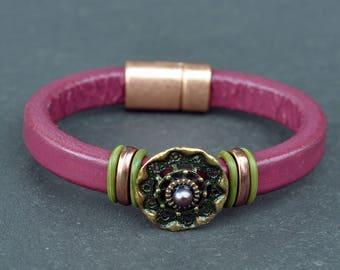 Leather Bracelet - Bracelet - Violet Bracelet -Europe Leather - Regaliz Bracelet - Pearl Bracelet