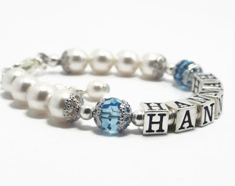 March Birthstone Bracelet, Baby Bracelet, Baby Jewelry, Baby Name Bracelet, Baby Girl Jewelry, Aquamarine Pearl Bracelet  (B147-30)