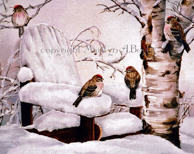 ACEO LIMITED EDITION Print; 2.5 x 3.5 inches, repolls, song birds, winter, birch tree, adirondack chair, feathers, wings,