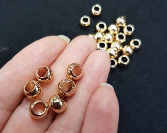 5 pc's x 6mm Large Hole Non Tarnish Spacer Beads - Gold