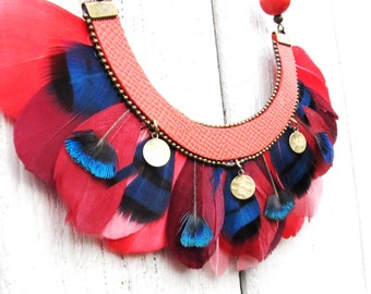 Necklace chestnut feather bohemian chic - gift woman