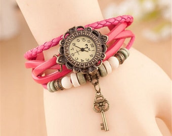pink Leather Watch Bracelet with key