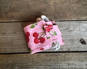 Wallet and Earbud Holder, cherry