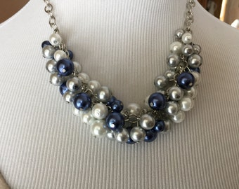 Bib necklace statement necklace in white navy and gray pearls, chunky pearl necklace, cluster pearl necklace, bridesmaid jewelry