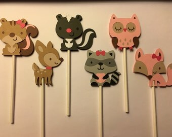 Woodland Cupcake Toppers Girl