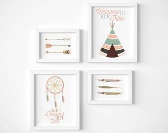 Girl Nursery Decor, Tribal Theme, Baby Girl Tribal Art, Digital Print, Native American Art, Tribal Art Prints, Wall Art, Baby Shower Art