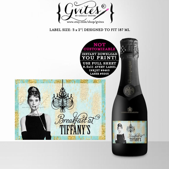 Audrey Hepburn MINI champagne bottle labels, breakfast at stickers, tags, shower decor, turquoise blue gold glitter favors, gifts,3x2 Gvites