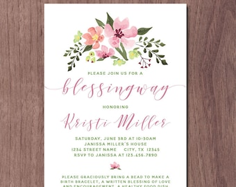 Blessingway Invitation Mother Blessing Invite Blessing Way Pink Flower Baby Shower Alternative Homebirth Natural Birth Watercolor Flowers
